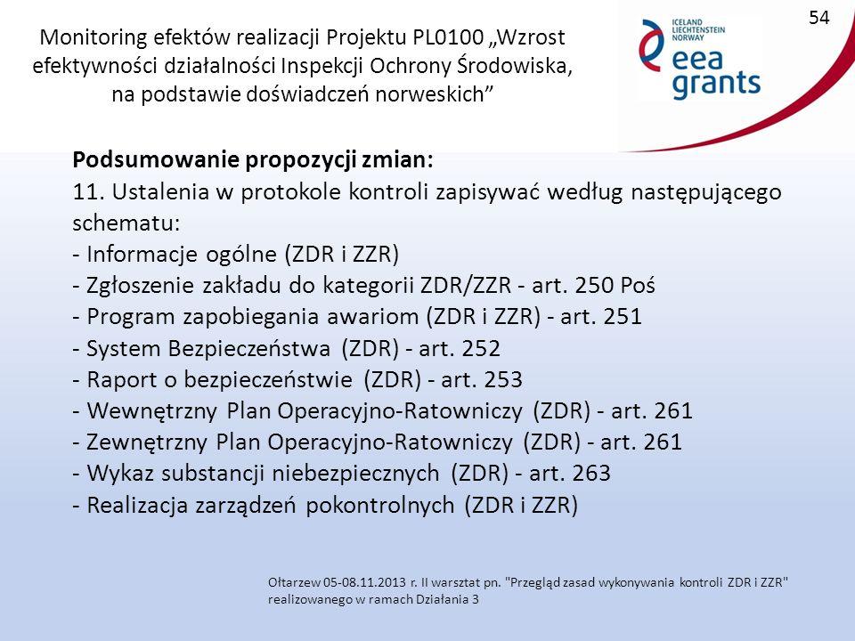 """Monitoring efektów realizacji Projektu PL0100 """"Wzrost efektywności działalności Inspekcji Ochrony Środowiska, na podstawie doświadczeń norweskich Podsumowanie propozycji zmian: 11."""
