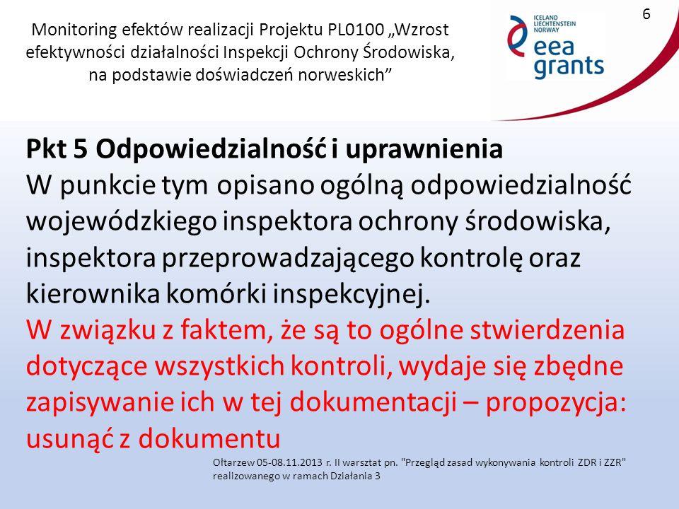 """Monitoring efektów realizacji Projektu PL0100 """"Wzrost efektywności działalności Inspekcji Ochrony Środowiska, na podstawie doświadczeń norweskich Załącznik do procedury 1.3.1.5."""