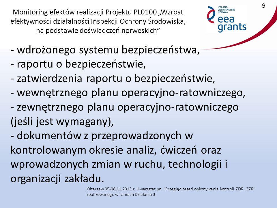"""Monitoring efektów realizacji Projektu PL0100 """"Wzrost efektywności działalności Inspekcji Ochrony Środowiska, na podstawie doświadczeń norweskich - wdrożonego systemu bezpieczeństwa, - raportu o bezpieczeństwie, - zatwierdzenia raportu o bezpieczeństwie, - wewnętrznego planu operacyjno-ratowniczego, - zewnętrznego planu operacyjno-ratowniczego (jeśli jest wymagany), - dokumentów z przeprowadzonych w kontrolowanym okresie analiz, ćwiczeń oraz wprowadzonych zmian w ruchu, technologii i organizacji zakładu."""