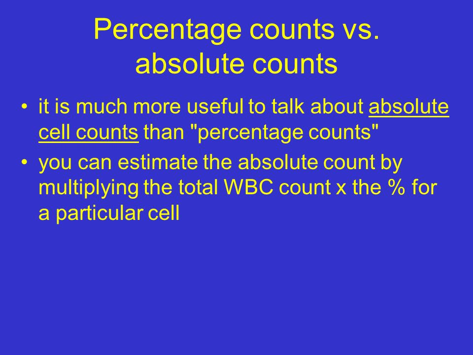 Percentage counts vs.