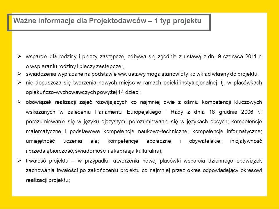 Ważne informacje dla Projektodawców – 1 typ projektu  wsparcie dla rodziny i pieczy zastępczej odbywa się zgodnie z ustawą z dn. 9 czerwca 2011 r. o
