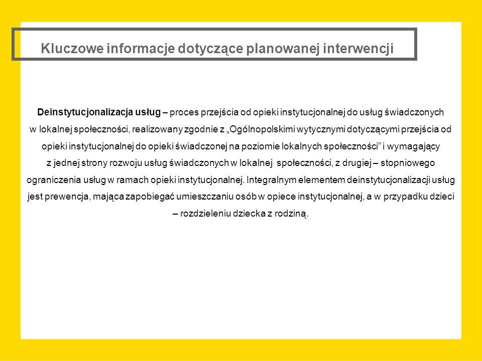 Kluczowe informacje dotyczące planowanej interwencji  Profilowanie interwencji w kierunku wspierania procesu deinstytucjonalizacji usług na rzecz usług świadczonych w lokalnej społeczności poprzez: ograniczenie typów projektów możliwych do realizacji w ramach konkursu; wyodrębnienie w ramach konkursu określonej alokacji na realizację projektów dedykowanych określonemu rodzajowi wsparcia i określonym usługom; rekomendowanie kryteriów dodatkowych premiujących działania z zakresu usług wsparcia rodziny i pieczy zastępczej;  Promowanie idei współpracy partnerskiej poprzez dodatkowe premiowanie lub wprowadzenie obligatoryjnej zasady realizacji projektu w partnerstwie;  Preferowanie realizacji usług społecznych przez podmioty ekonomii społecznej i przedsiębiorstwa społeczne poprzez wprowadzenie dodatkowych kryteriów punktowych;  Ukierunkowanie wsparcia w zakresie usług opiekuńczych i asystenckich: pilotażowe uruchomienie organizowania usług opiekuńczych oraz asystenckich świadczonych w formule środowiskowej w każdym z powiatów województwa śląskiego; podział środków na wspieranie usług opiekuńczych i asystenckich; ułatwienie dostępu do usług mieszkańcom terenów wiejskich poprzez dodatkowe kryterium punktowe;  Premiowanie wdrażania skutecznych i efektywnych rozwiązań wypracowanych z udziałem środków EFS poprzez wprowadzenie dodatkowego kryterium punktowego.