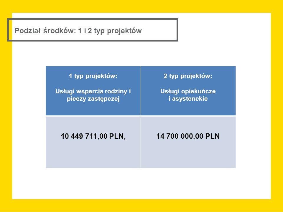 Podział środków: 1 i 2 typ projektów 1 typ projektów: Usługi wsparcia rodziny i pieczy zastępczej 2 typ projektów: Usługi opiekuńcze i asystenckie 10
