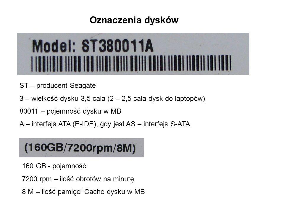 Oznaczenia dysków ST – producent Seagate 3 – wielkość dysku 3,5 cala (2 – 2,5 cala dysk do laptopów) 80011 – pojemność dysku w MB A – interfejs ATA (E