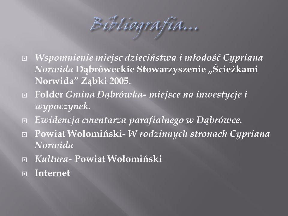 """ Wspomnienie miejsc dzieciństwa i młodość Cypriana Norwida Dąbróweckie Stowarzyszenie """"Ścieżkami Norwida Ząbki 2005."""