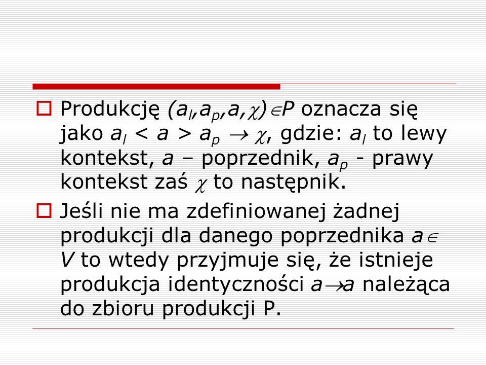  Produkcję (a l,a p,a,)P oznacza się jako a l a p  , gdzie: a l to lewy kontekst, a – poprzednik, a p - prawy kontekst zaś  to następnik.  Jeśl