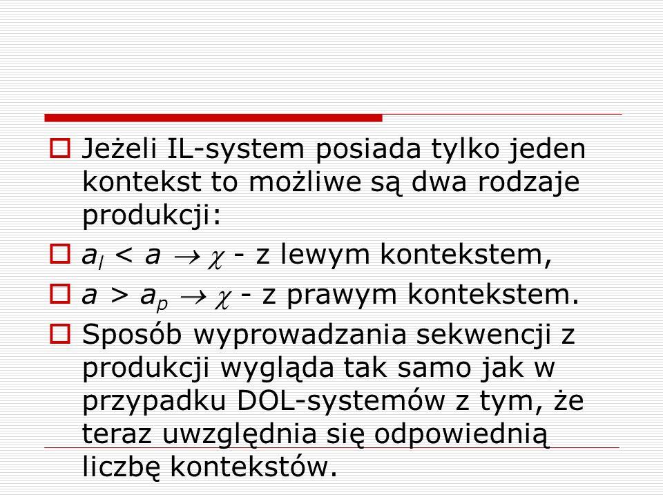  Jeżeli IL-system posiada tylko jeden kontekst to możliwe są dwa rodzaje produkcji:  a l < a   - z lewym kontekstem,  a > a p   - z prawym kont
