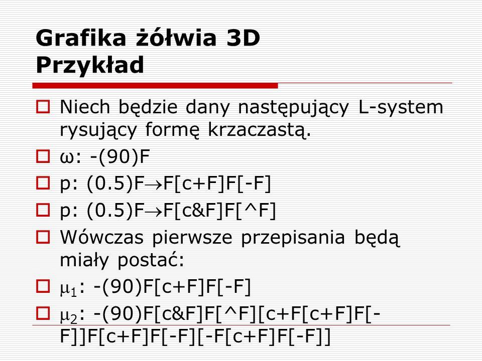Grafika żółwia 3D Przykład  Niech będzie dany następujący L-system rysujący formę krzaczastą.  ω: -(90)F  p: (0.5)FF[c+F]F[-F]  p: (0.5)FF[c&F]F