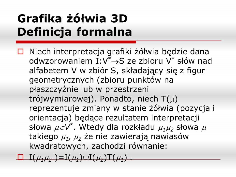 Grafika żółwia 3D Definicja formalna  Niech interpretacja grafiki żółwia będzie dana odwzorowaniem I:V * S ze zbioru V * słów nad alfabetem V w zbió