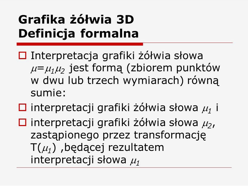 Grafika żółwia 3D Definicja formalna  Interpretacja grafiki żółwia słowa = 1  2 jest formą (zbiorem punktów w dwu lub trzech wymiarach) równą sumi
