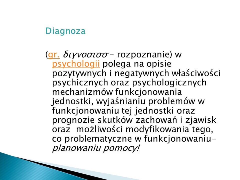 Diagnoza (gr. διγνοσισσ - rozpoznanie) w psychologii polega na opisie pozytywnych i negatywnych właściwości psychicznych oraz psychologicznych mechani