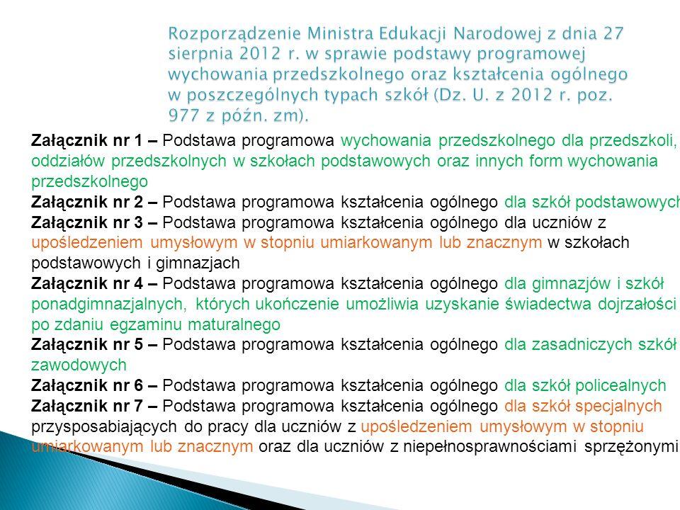 Załącznik nr 1 – Podstawa programowa wychowania przedszkolnego dla przedszkoli, oddziałów przedszkolnych w szkołach podstawowych oraz innych form wych