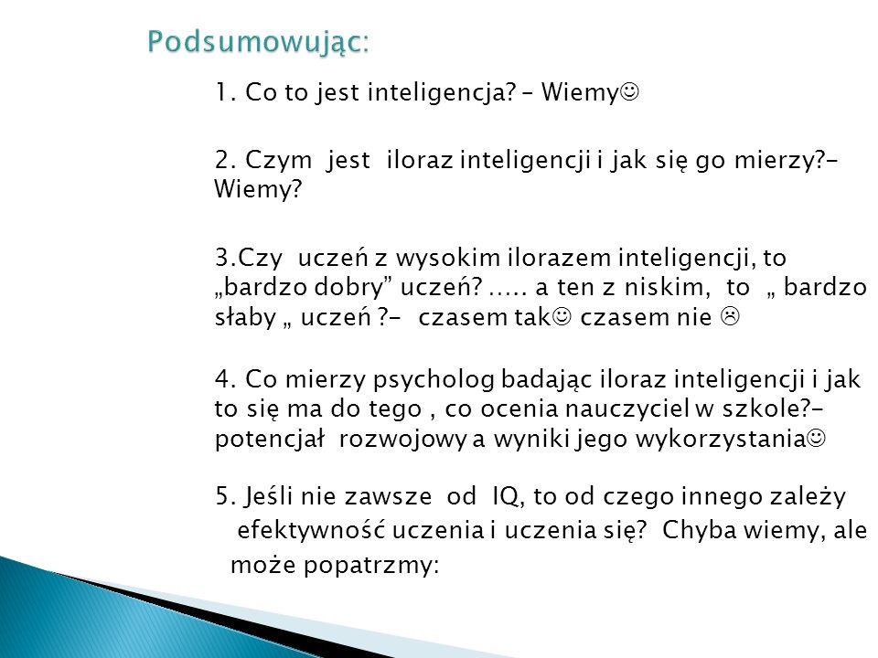 """1. Co to jest inteligencja? – Wiemy 2. Czym jest iloraz inteligencji i jak się go mierzy?- Wiemy? 3.Czy uczeń z wysokim ilorazem inteligencji, to """"bar"""