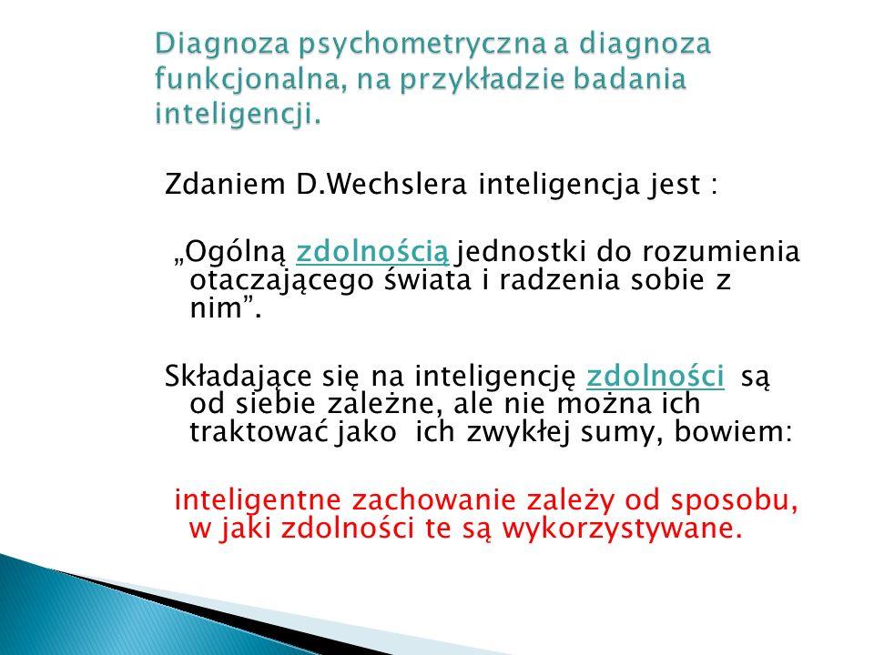 """Zdaniem D.Wechslera inteligencja jest : """"Ogólną zdolnością jednostki do rozumienia otaczającego świata i radzenia sobie z nim"""". Składające się na inte"""