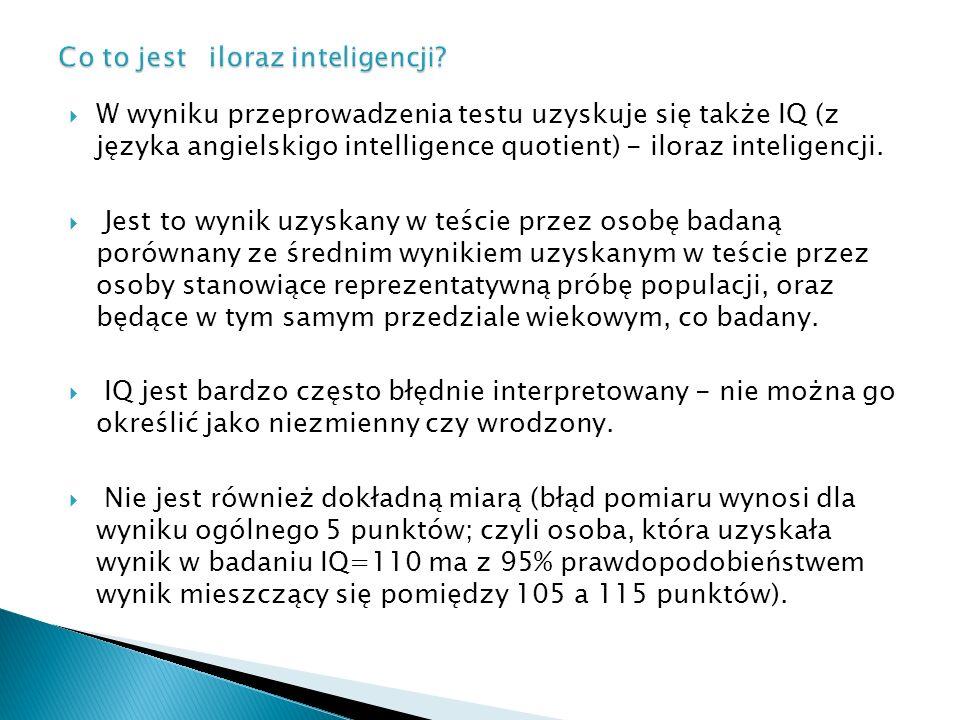  W wyniku przeprowadzenia testu uzyskuje się także IQ (z języka angielskigo intelligence quotient) - iloraz inteligencji.  Jest to wynik uzyskany w