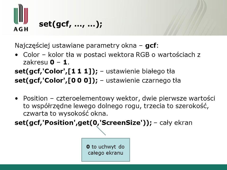 set(gcf, …, …); Najczęściej ustawiane parametry okna – gcf: Color – kolor tła w postaci wektora RGB o wartościach z zakresu 0 – 1.