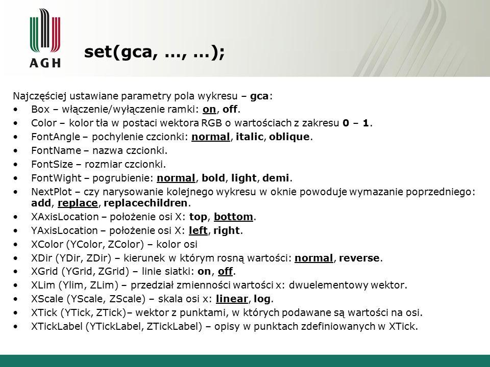 set(gca, …, …); Najczęściej ustawiane parametry pola wykresu – gca: Box – włączenie/wyłączenie ramki: on, off.