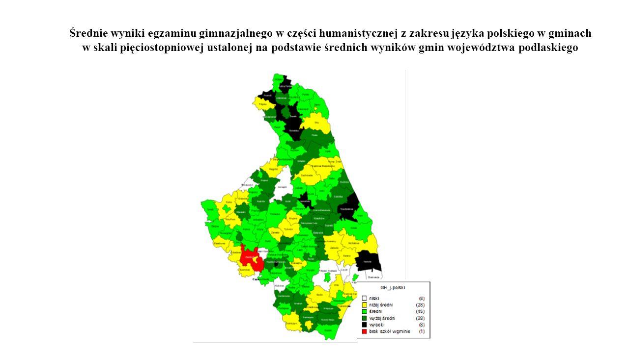 Średnie wyniki egzaminu gimnazjalnego w części humanistycznej z zakresu języka polskiego w gminach w skali pięciostopniowej ustalonej na podstawie śre