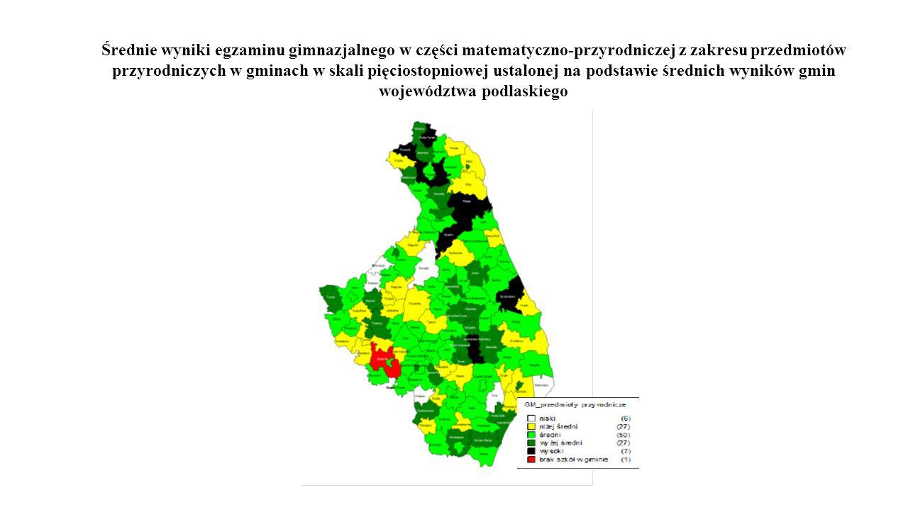 Średnie wyniki egzaminu gimnazjalnego w części matematyczno-przyrodniczej z zakresu przedmiotów przyrodniczych w gminach w skali pięciostopniowej usta