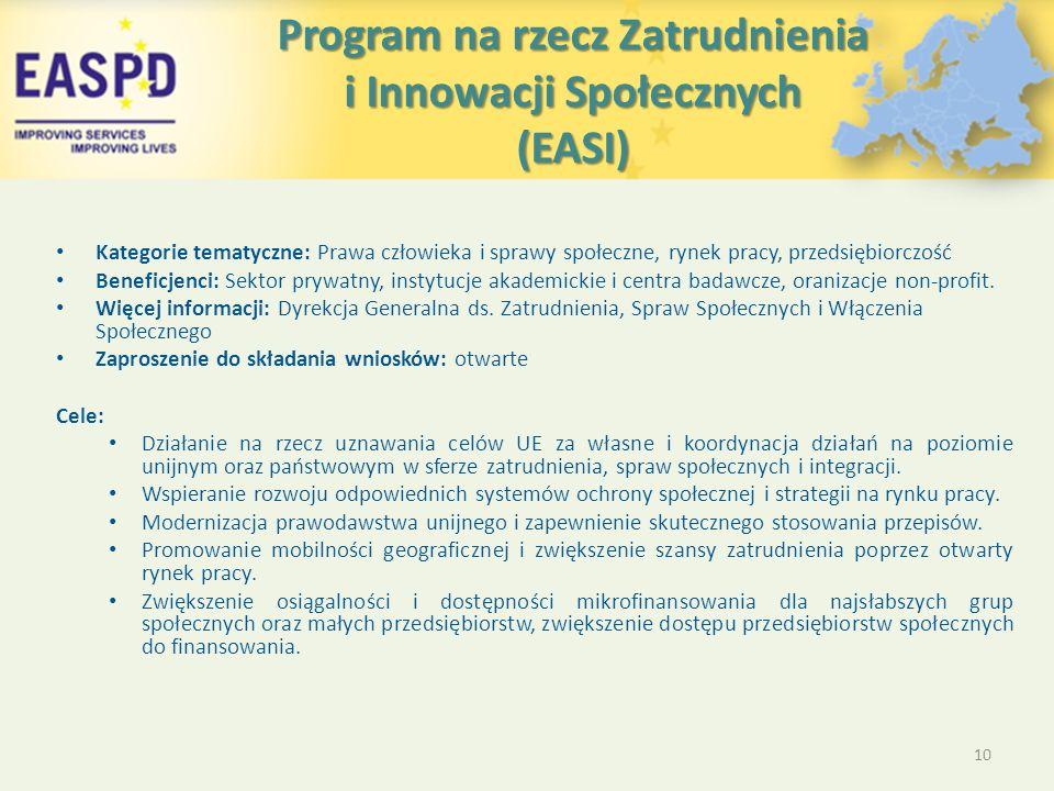 Program na rzecz Zatrudnienia i Innowacji Społecznych (EASI) Kategorie tematyczne: Prawa człowieka i sprawy społeczne, rynek pracy, przedsiębiorczość Beneficjenci: Sektor prywatny, instytucje akademickie i centra badawcze, oranizacje non-profit.