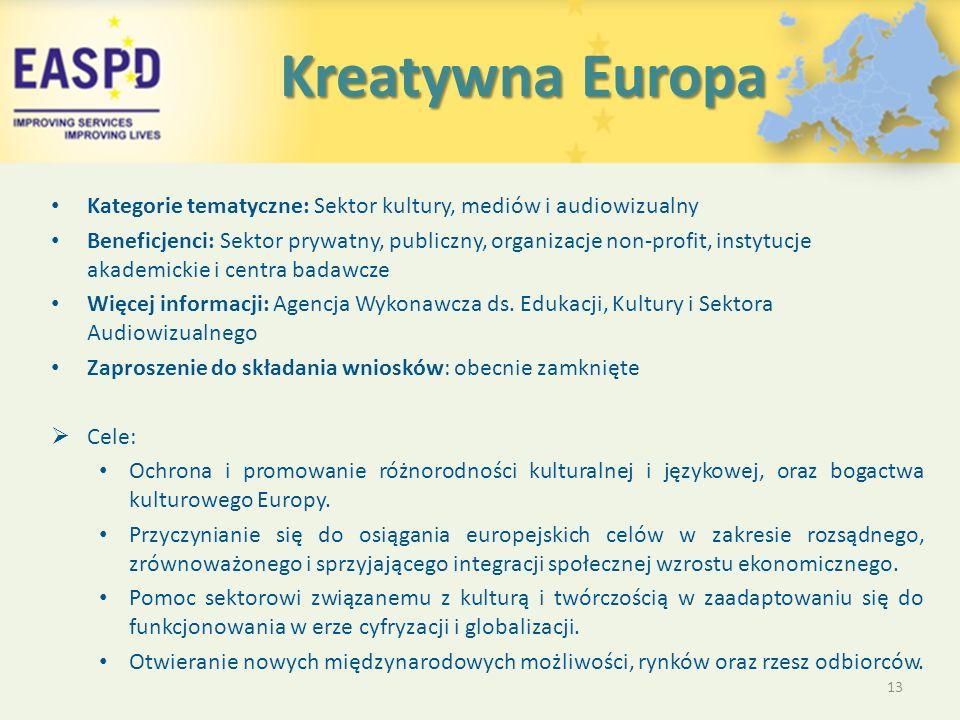Kreatywna Europa Kreatywna Europa Kategorie tematyczne: Sektor kultury, mediów i audiowizualny Beneficjenci: Sektor prywatny, publiczny, organizacje non-profit, instytucje akademickie i centra badawcze Więcej informacji: Agencja Wykonawcza ds.