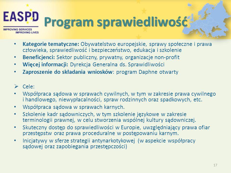 Program sprawiedliwość Kategorie tematyczne: Obywatelstwo europejskie, sprawy społeczne i prawa człowieka, sprawiedliwość i bezpieczeństwo, edukacja i szkolenie Beneficjenci: Sektor publiczny, prywatny, organizacje non-profit Więcej informacji: Dyrekcja Generalna ds.