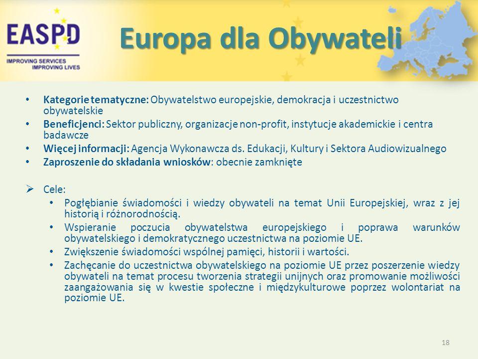 Europa dla Obywateli Europa dla Obywateli Kategorie tematyczne: Obywatelstwo europejskie, demokracja i uczestnictwo obywatelskie Beneficjenci: Sektor publiczny, organizacje non-profit, instytucje akademickie i centra badawcze Więcej informacji: Agencja Wykonawcza ds.