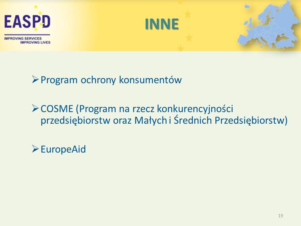 INNE INNE  Program ochrony konsumentów  COSME (Program na rzecz konkurencyjności przedsiębiorstw oraz Małych i Średnich Przedsiębiorstw)  EuropeAid 19
