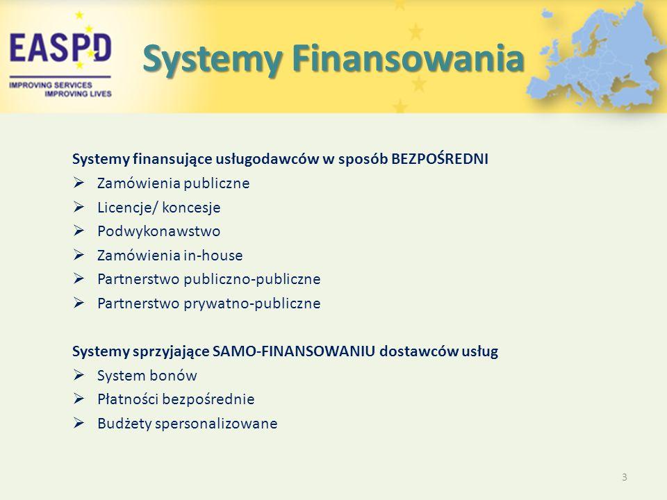 Systemy Finansowania Systemy finansujące usługodawców w sposób BEZPOŚREDNI  Zamówienia publiczne  Licencje/ koncesje  Podwykonawstwo  Zamówienia in-house  Partnerstwo publiczno-publiczne  Partnerstwo prywatno-publiczne Systemy sprzyjające SAMO-FINANSOWANIU dostawców usług  System bonów  Płatności bezpośrednie  Budżety spersonalizowane 3
