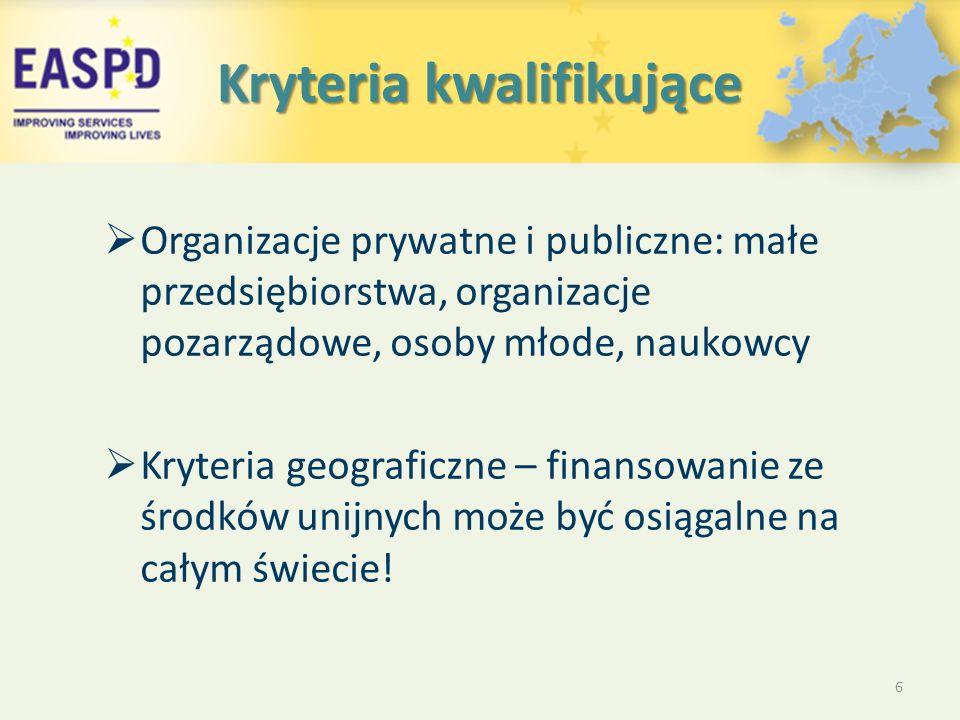 Kryteria kwalifikujące  Organizacje prywatne i publiczne: małe przedsiębiorstwa, organizacje pozarządowe, osoby młode, naukowcy  Kryteria geograficzne – finansowanie ze środków unijnych może być osiągalne na całym świecie.