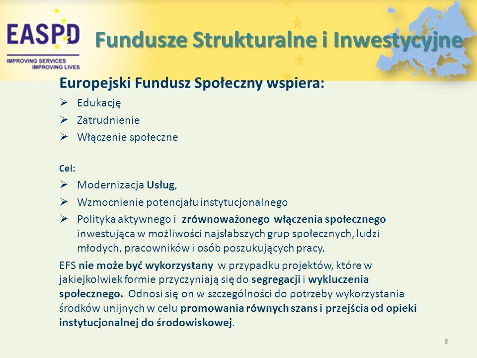 Fundusze Strukturalne i Inwestycyjne Europejski Fundusz Społeczny wspiera:  Edukację  Zatrudnienie  Włączenie społeczne Cel:  Modernizacja Usług,  Wzmocnienie potencjału instytucjonalnego  Polityka aktywnego i zrównoważonego włączenia społecznego inwestująca w możliwości najsłabszych grup społecznych, ludzi młodych, pracowników i osób poszukujących pracy.
