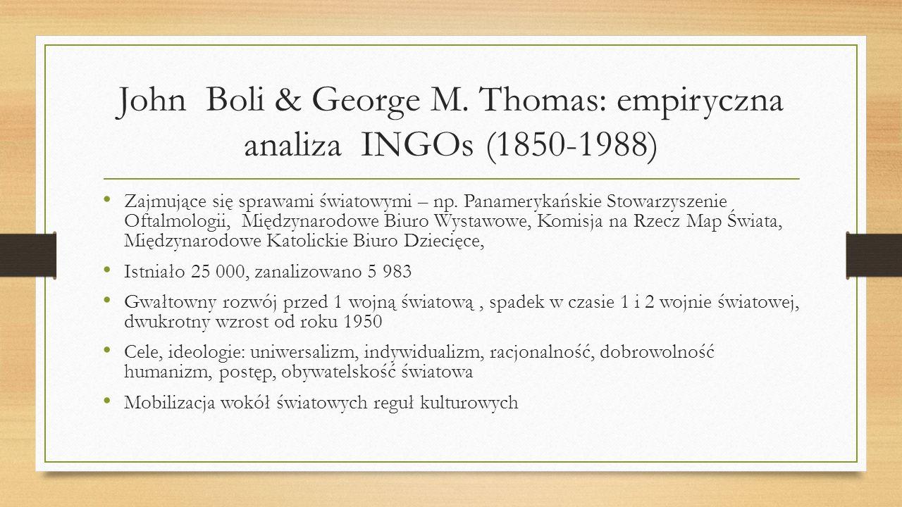 John Boli & George M. Thomas: empiryczna analiza INGOs (1850-1988) Zajmujące się sprawami światowymi – np. Panamerykańskie Stowarzyszenie Oftalmologii