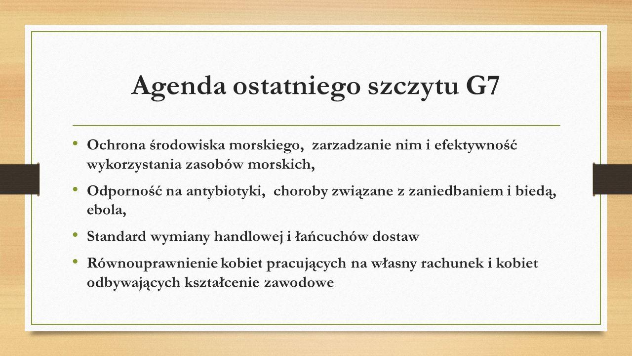 Agenda ostatniego szczytu G7 Ochrona środowiska morskiego, zarzadzanie nim i efektywność wykorzystania zasobów morskich, Odporność na antybiotyki, cho
