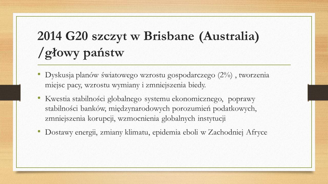 2014 G20 szczyt w Brisbane (Australia) /głowy państw Dyskusja planów światowego wzrostu gospodarczego (2%), tworzenia miejsc pacy, wzrostu wymiany i z