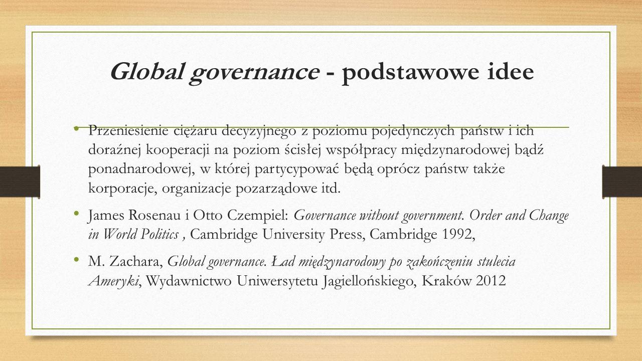 """Global governance Globane rządzenie Luźny system globalnej regulacji zachowań aktorów polityki międzynarodowej, o charakterze instytucjonalnym lub normatywnym, złożony z różnego rodzaju elementów: organizacji międzynarodowych i prawa międzynarodowego, organizacji ponadnarodowych i ram działania, elementów globalnej społeczności obywatelskiej, ogólnie przyjętych norm postępowania """"w świecie ."""