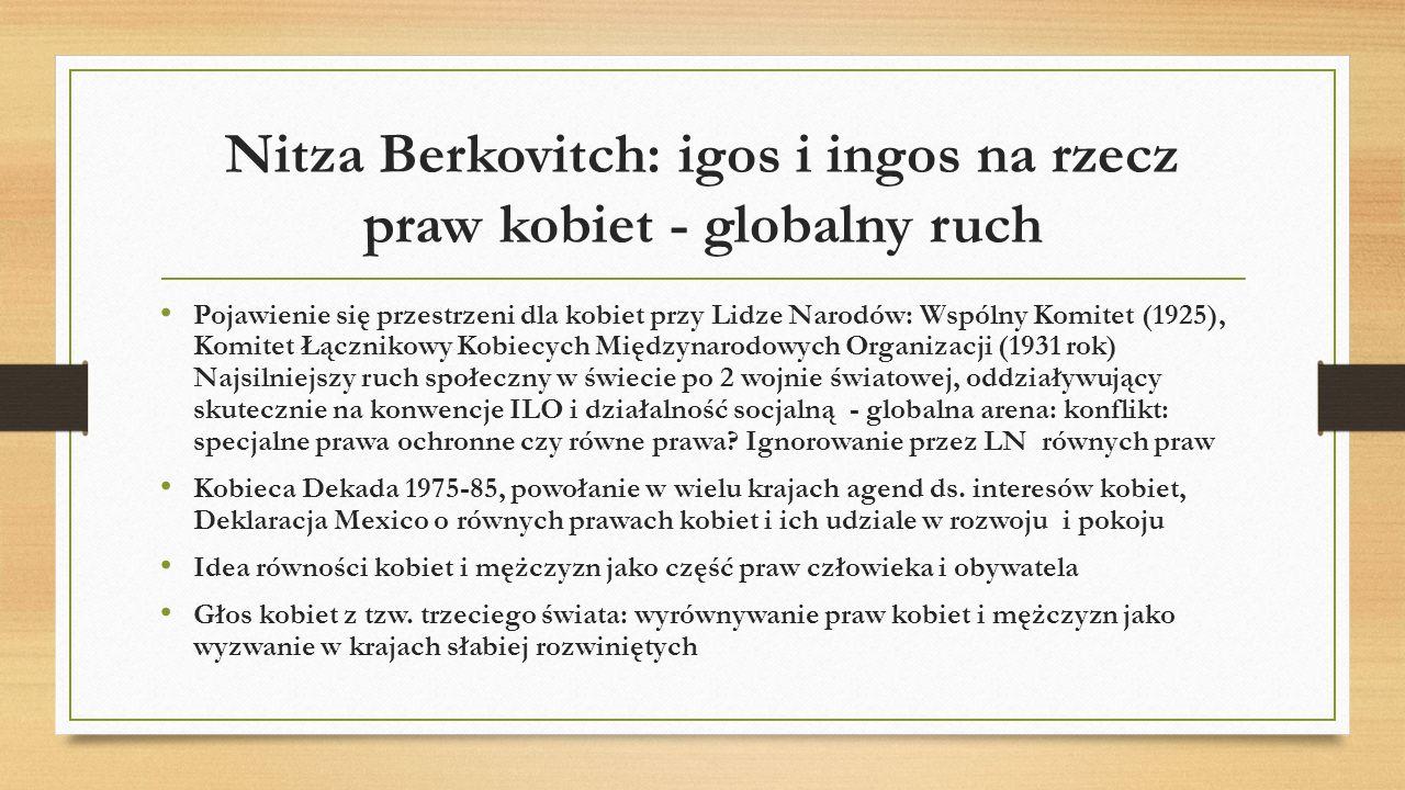 Nitza Berkovitch: igos i ingos na rzecz praw kobiet - globalny ruch Pojawienie się przestrzeni dla kobiet przy Lidze Narodów: Wspólny Komitet (1925),