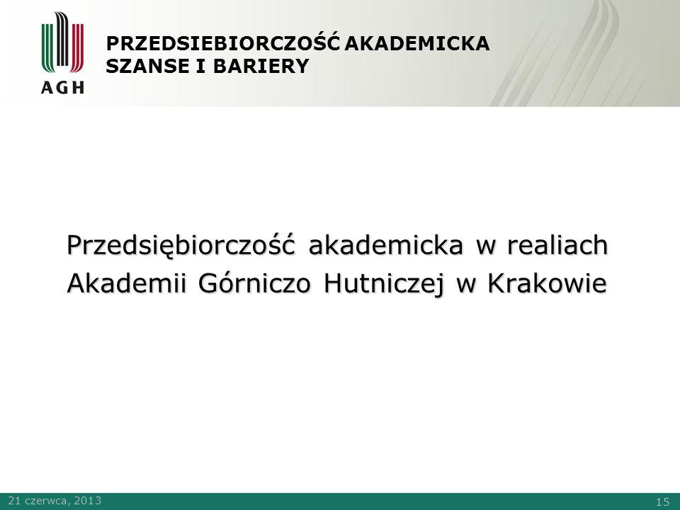 PRZEDSIEBIORCZOŚĆ AKADEMICKA SZANSE I BARIERY Przedsiębiorczość akademicka w realiach Akademii Górniczo Hutniczej w Krakowie 21 czerwca, 2013 15