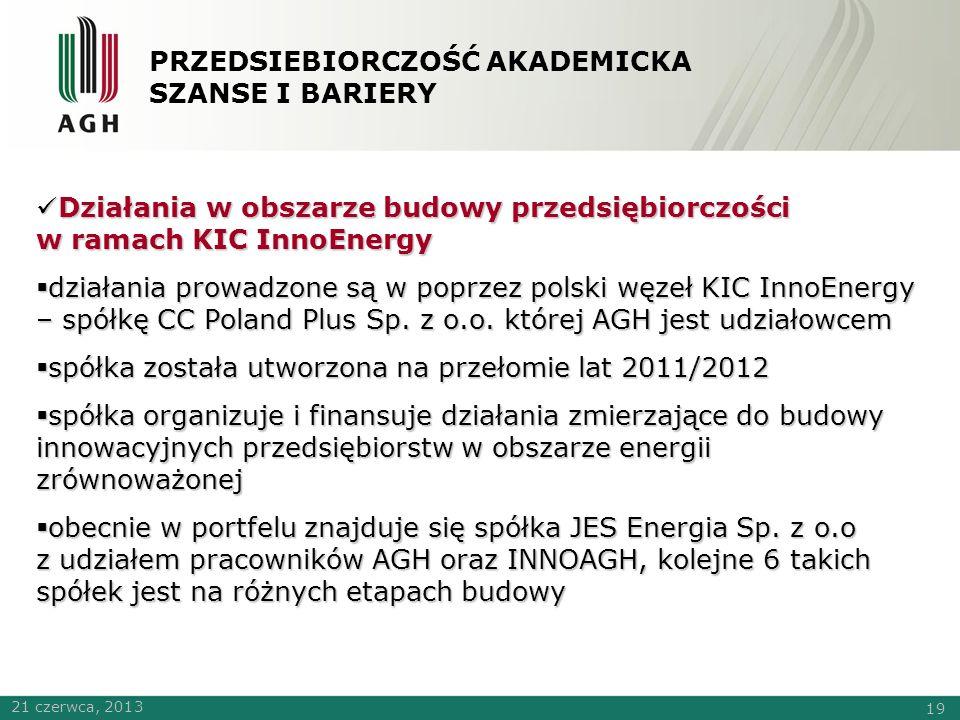 PRZEDSIEBIORCZOŚĆ AKADEMICKA SZANSE I BARIERY Działania w obszarze budowy przedsiębiorczości w ramach KIC InnoEnergy Działania w obszarze budowy przedsiębiorczości w ramach KIC InnoEnergy  działania prowadzone są w poprzez polski węzeł KIC InnoEnergy – spółkę CC Poland Plus Sp.