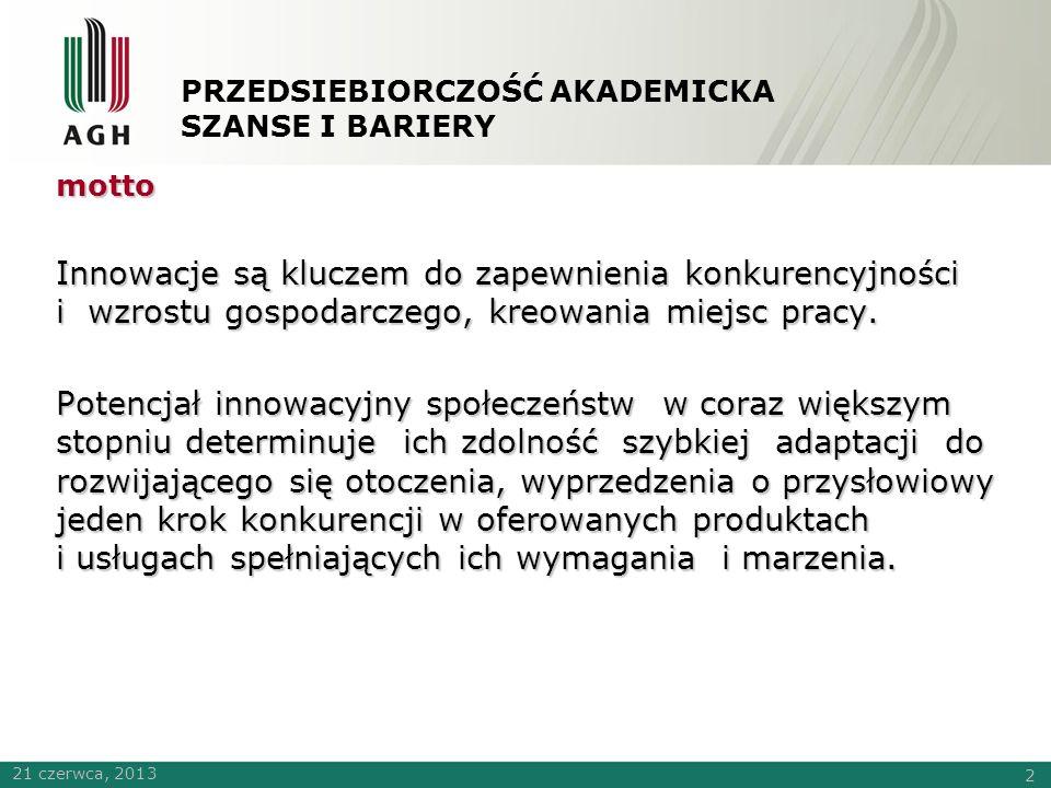 PRZEDSIEBIORCZOŚĆ AKADEMICKA SZANSE I BARIERY Czy polska gospodarka jest innowacyjna ?.