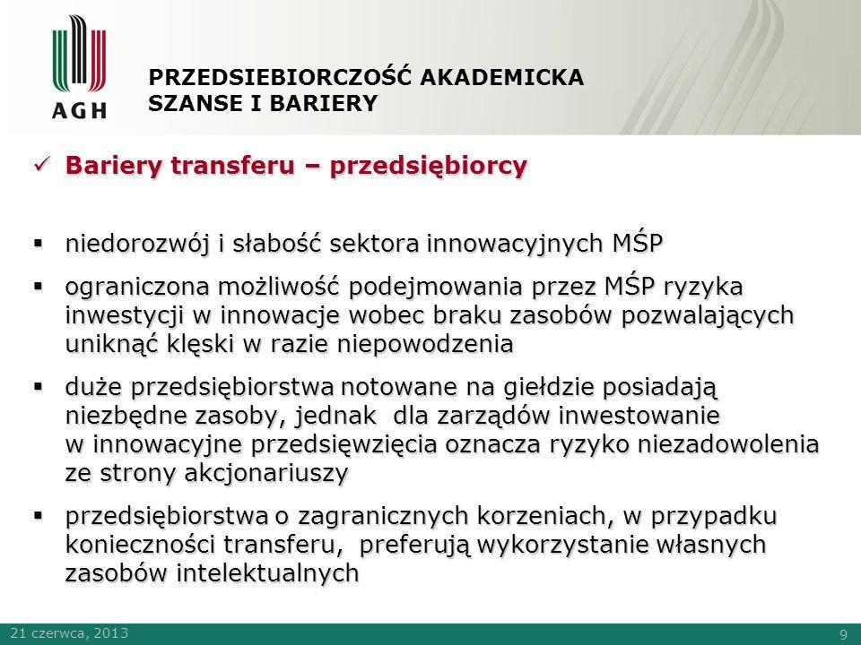 PRZEDSIEBIORCZOŚĆ AKADEMICKA SZANSE I BARIERY Bariery transferu – nauka (1/2) Bariery transferu – nauka (1/2)  niedojrzałość komercyjna wyników prac badawczych  trudny dostęp do finansowania kosztów doprowadzenia wyników badań do fazy powalającej na podjęcie przez potencjalnego odbiorcę innowacji decyzji o transferze  potencjał tworzenia innowacji, dostępna infrastruktura badawcza, finansowanie badań  transfer jest tylko jednym z wielu kryteriów oceny pracownika naukowego o stosunkowo ograniczonym znaczeniu 21 czerwca, 2013 10