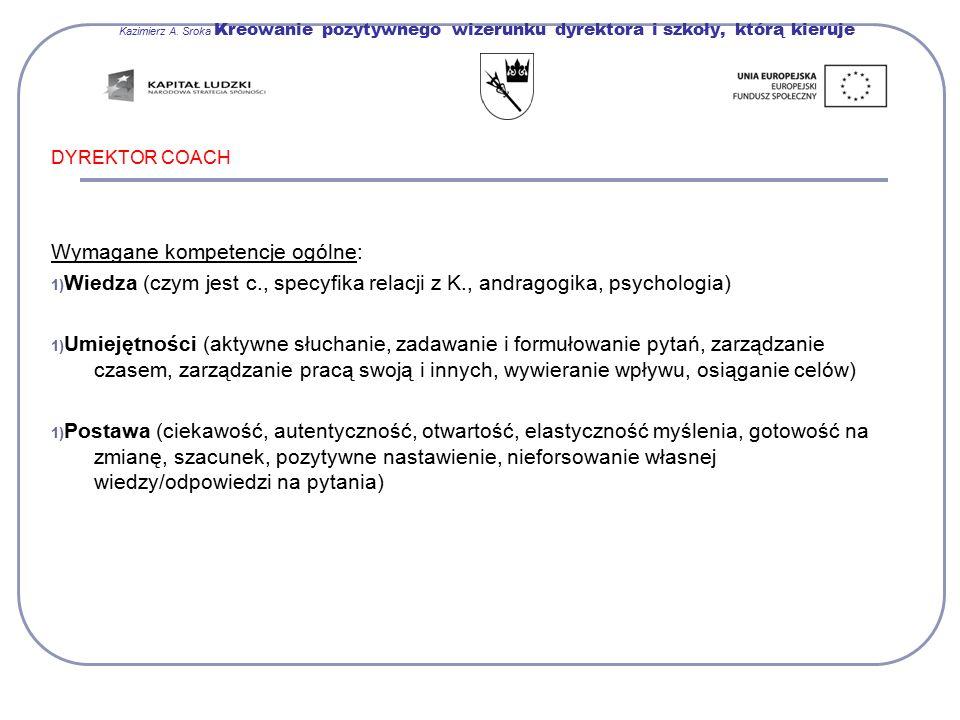 Kazimierz A. Sroka Kreowanie pozytywnego wizerunku dyrektora i szkoły, którą kieruje DYREKTOR COACH Wymagane kompetencje ogólne: 1) Wiedza (czym jest