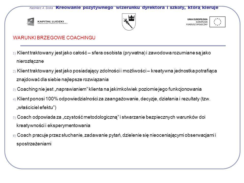 Kazimierz A. Sroka Kreowanie pozytywnego wizerunku dyrektora i szkoły, którą kieruje WARUNKI BRZEGOWE COACHINGU 1) Klient traktowany jest jako całość