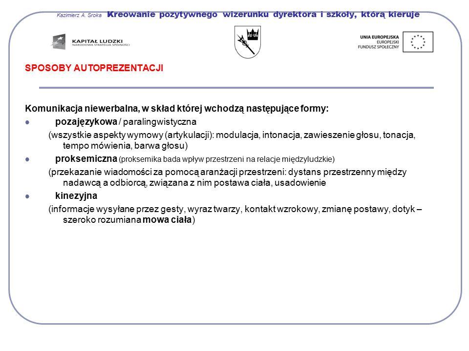 Kazimierz A. Sroka Kreowanie pozytywnego wizerunku dyrektora i szkoły, którą kieruje SPOSOBY AUTOPREZENTACJI Komunikacja niewerbalna, w skład której w