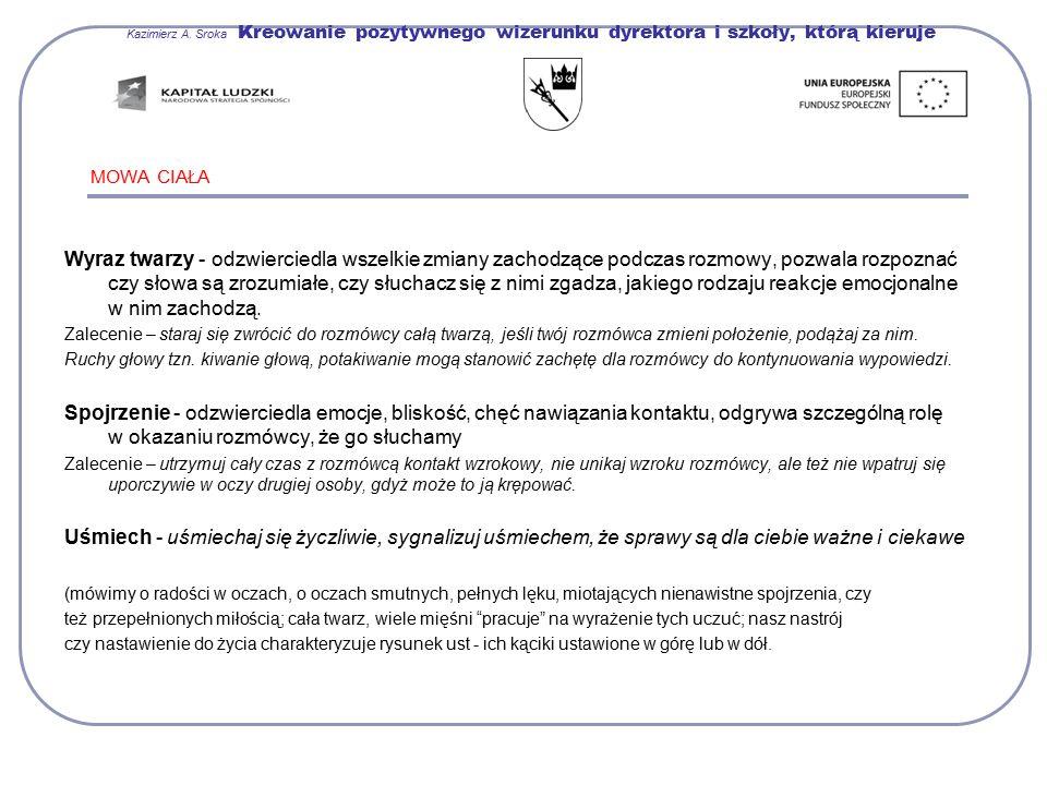 Kazimierz A. Sroka Kreowanie pozytywnego wizerunku dyrektora i szkoły, którą kieruje MOWA CIAŁA Wyraz twarzy - odzwierciedla wszelkie zmiany zachodząc