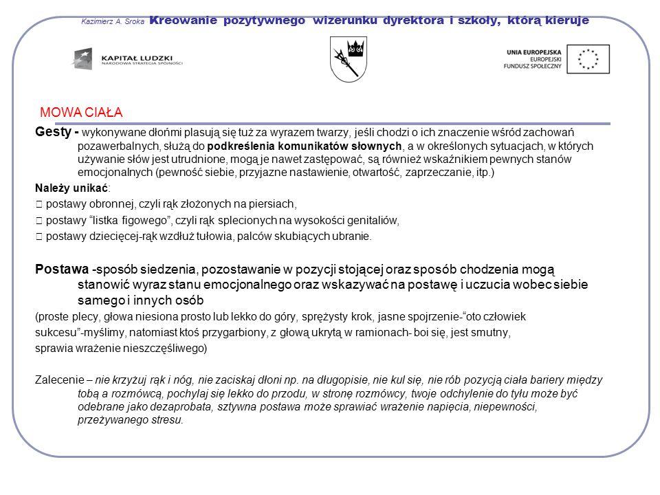 Kazimierz A. Sroka Kreowanie pozytywnego wizerunku dyrektora i szkoły, którą kieruje MOWA CIAŁA Gesty - wykonywane dłońmi plasują się tuż za wyrazem t