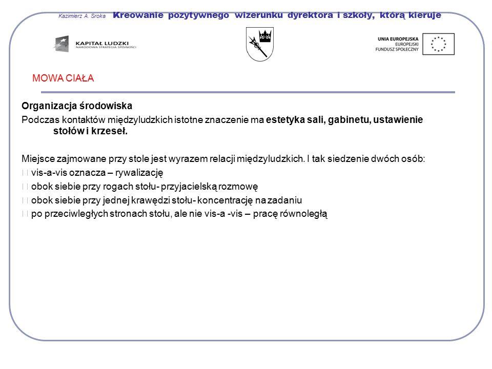 Kazimierz A. Sroka Kreowanie pozytywnego wizerunku dyrektora i szkoły, którą kieruje MOWA CIAŁA Organizacja środowiska Podczas kontaktów międzyludzkic