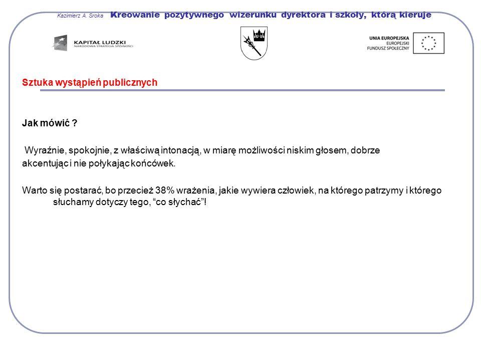 Kazimierz A. Sroka Kreowanie pozytywnego wizerunku dyrektora i szkoły, którą kieruje Sztuka wystąpień publicznych Jak mówić ? Wyraźnie, spokojnie, z w