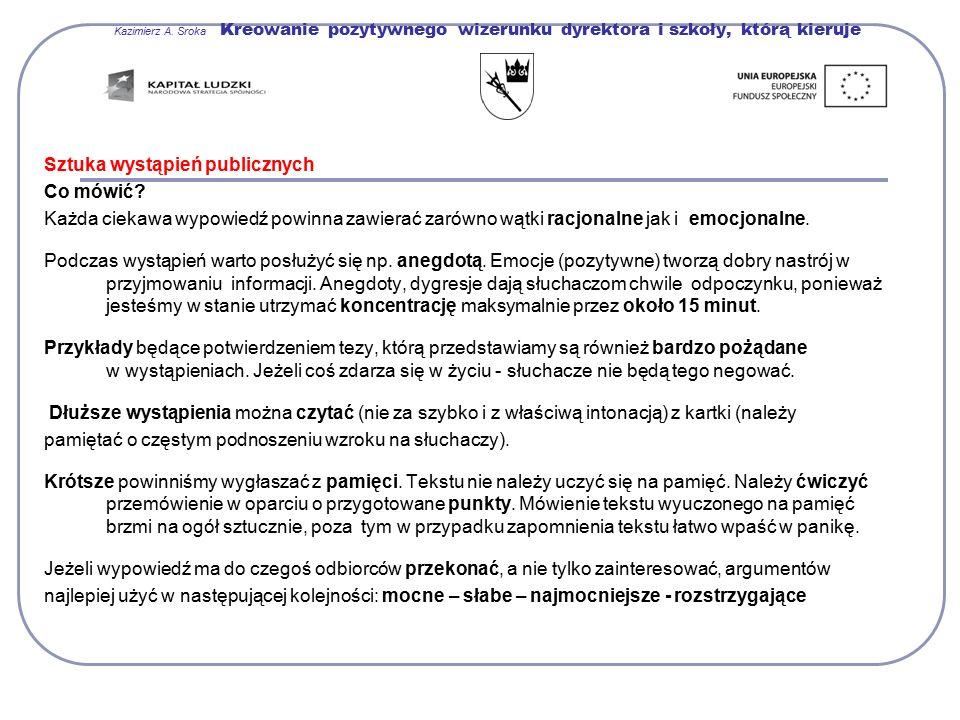 Kazimierz A. Sroka Kreowanie pozytywnego wizerunku dyrektora i szkoły, którą kieruje Sztuka wystąpień publicznych Co mówić? Każda ciekawa wypowiedź po