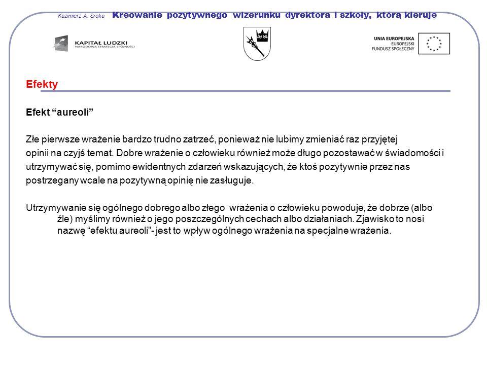 """Kazimierz A. Sroka Kreowanie pozytywnego wizerunku dyrektora i szkoły, którą kieruje Efekty Efekt """"aureoli"""" Złe pierwsze wrażenie bardzo trudno zatrze"""
