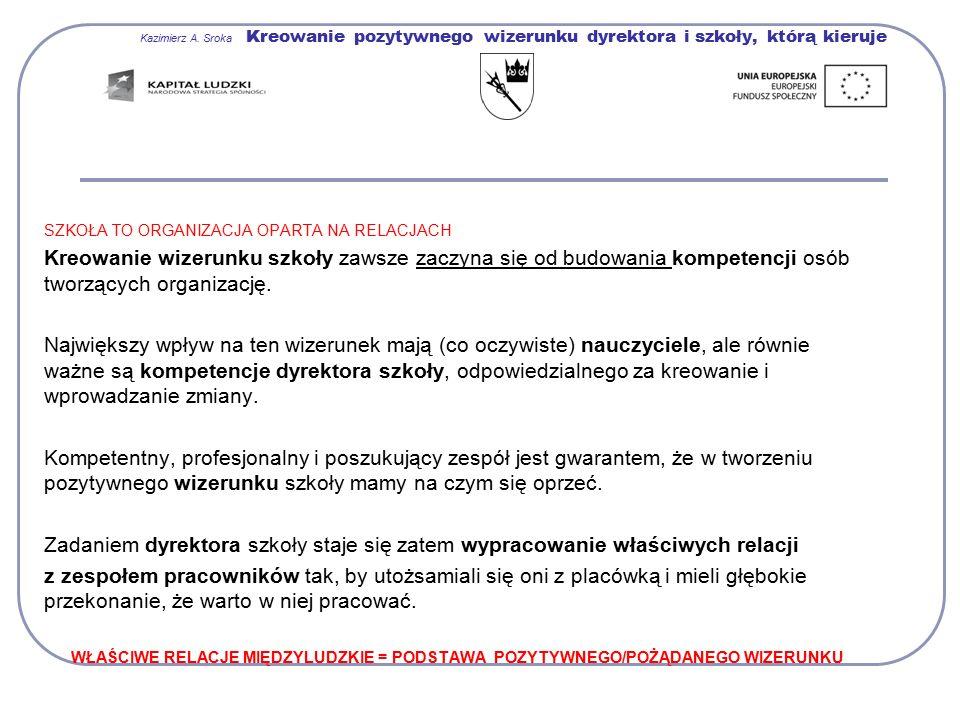 Kazimierz A. Sroka Kreowanie pozytywnego wizerunku dyrektora i szkoły, którą kieruje SZKOŁA TO ORGANIZACJA OPARTA NA RELACJACH Kreowanie wizerunku szk